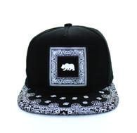 SM404 Cali Bear Snapback (Black & Black Bandana)