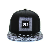 SM404 Miami Snapback (Black & Black Bandana)