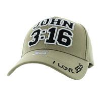 VM316 The Gospel of John Chapter 3 Verse 16  Velcro Cap (Solid Khaki)