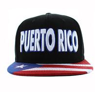 SM424 Puerto Rico Cotton Snapback Hat Cap (Solid Black)