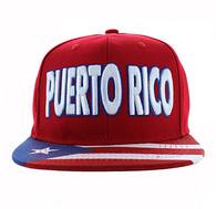 SM424 Puerto Rico Cotton Snapback Hat Cap (Solid Red)
