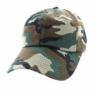 BP080 Washed Cotton Polo Style Caps (Solid Military Camo)