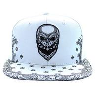 SM587 Skull Snapback Cap (Solid White)