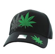 VM199 Marijuana Velcro Cap (Solid Black)