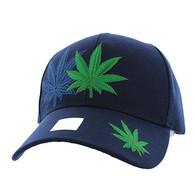 VM199 Marijuana Velcro Cap (Solid Navy)