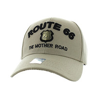 VM223 Route 66 Road Gold Metal Velcro Cap (Solid Khaki)