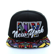 SM292 New York Snapback (Black & Light Grey)