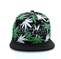 SM353 Marijuana Los Angeles Snapback (Solid Black)