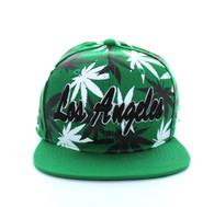 SM353 Marijuana Los Angeles Snapback (Solid Kelly Green)