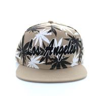 SM353 Marijuana Los Angeles Snapback (Solid Khaki)
