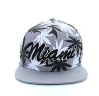 SM353 Marijuana Miami Snapback (Solid Light Grey)
