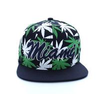 SM353 Marijuana Miami Snapback (Solid Navy)