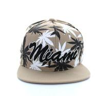 SM353 Marijuana Miami Snapback (Solid Khaki)