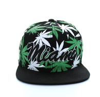 SM353 Marijuana Miami Snapback (Solid Black)