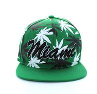 SM353 Marijuana Miami Snapback (Solid Kelly Green)