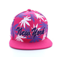 SM353 Marijuana New York Snapback (Solid Hot Pink)