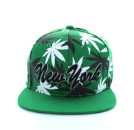 SM353 Marijuana New York Snapback (Solid Kelly Green)