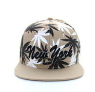 SM353 Marijuana New York Snapback (Solid Khaki)