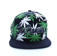SM353 Marijuana San Francisco Snapback (Solid Navy)