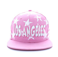 SM395 Los Angeles Star Cotton Snapback (Light Pink & White)