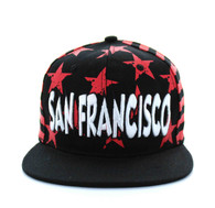 SM395 San Francisco Star Cotton Snapback (Black & Red)