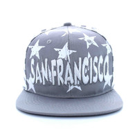 SM395 San Francisco Star Cotton Snapback (Light Grey & White)