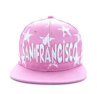 SM395 San Francisco Star Cotton Snapback (Light Pink & White)