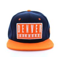 SM228 Denver Snapback Cap (Navy & Orange)
