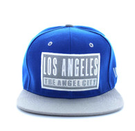 SM228 Los Angeles Snapback Cap (Royal Blue & Light Grey)