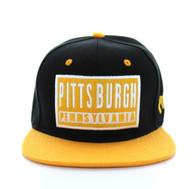 SM228 Pittsburgh Snapback Cap (Black & Gold)