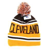 WB071 Cleveland Pom Pom Beanie (Brown & Orange)