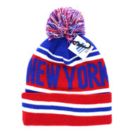 WB071 New York Pom Pom Beanie (Royal & Red)