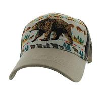 VM222 Native Bear  Velcro Cap (Native & Khaki)