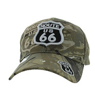 VM387 Route 66 Road Shield Velcro Cap (Solid Hunting Camo)