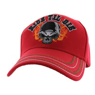 VM414 Ride Til Die Skull Flames Velcro Cap (Solid Red)