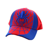 VM063 Spider Kid's Velcro Cotton Cap (Red & Royal)