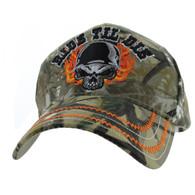 VM414 Ride Til Die Skull Flames Velcro Cap (Hunting Camo)