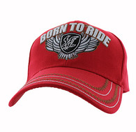 VM420 Born to Ride Eagle Velcro Cap (Solid Red)