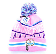 WB072 Native Pride Dream Catcher Pom Pom Beanie (Light Pink)
