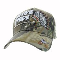 VM442 Native Pride Chieftain's Peace Pipe Velcro Cap (Hunting Camo)