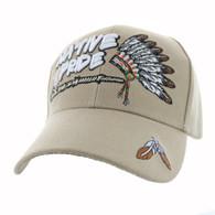 VM442 Native Pride Chieftain's Peace Pipe Velcro Cap (Solid Khaki)