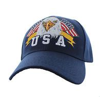 VM449 American USA Eagle Velcro Cap (Solid Navy)