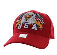 VM449 American USA Eagle Velcro Cap (Solid Red)