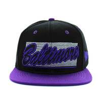 SM236 Baltimore City Snapback (Black & Purple)