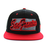 SM236 San Francisco City Snapback (Black & Red)