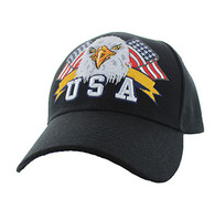 VM449 American USA Eagle Velcro Cap (Solid Black)
