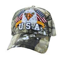 VM449 American USA Eagle Velcro Cap (Solid Hunting Camo)