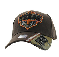 VM471 Texas Velcro Cap (Brown & Hunting Camo)
