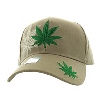 VM199 Marijuana Velcro Cap (Solid Khaki)