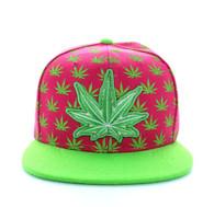 SM494 Marijuana Snapback Cap (Hot Pink & Lime)